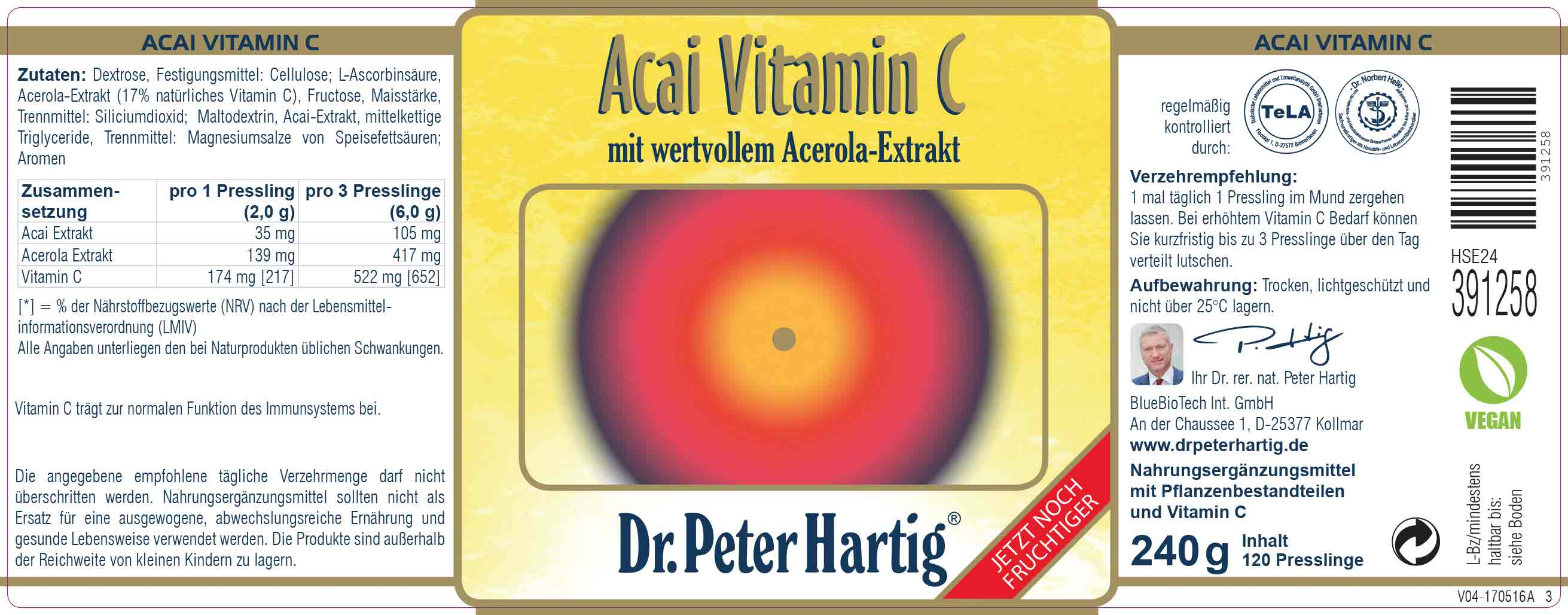 acai vitamin c 120 mega presslinge dr peter hartig. Black Bedroom Furniture Sets. Home Design Ideas